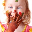 Child in paint — Stock Photo