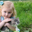 Girl and cat — Stock Photo #1304054