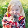 Stock Photo: Girl and cat