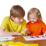 bambini con carta — Foto Stock