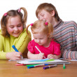 Children with drawing — Stock Photo #1305022