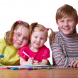 Children with drawing - Stock Photo