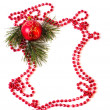 Red ball and christnas branch — Stock Photo
