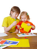 Children with paper — Stock Photo