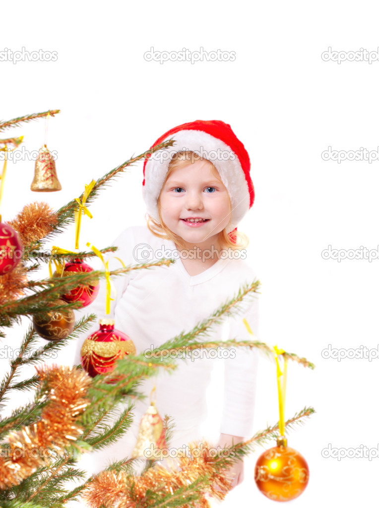 Little girl with christmas tree isolated on white — Stock Photo #1309260