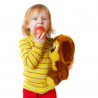 Little girl with toy isolated on white — Stock Photo