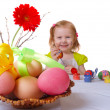 Girl paint easter egg — Stock Photo