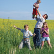 Men and children outdoor — Stock Photo
