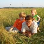 Men and children outdoor — Stock Photo #1328511