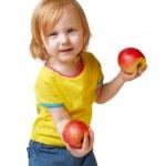 苹果的女孩 — 图库照片