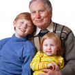 Stock Photo: Old men and children isolated on white
