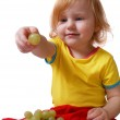 Child with grape — Stock Photo