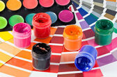 Palette and paints — Stock Photo