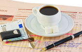 Cup of coffee and things to Business — Stock Photo