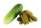 Fresh and mild-cured cucumbers — Stock Photo