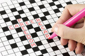 Solving crossword — Stock Photo