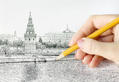Hand drawing pencil — Stock Photo