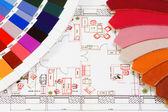 Próbki skóry i palety kolorów — Zdjęcie stockowe