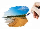 Draw seascape — Zdjęcie stockowe