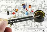 Solder radio components — Stock Photo