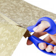Scissors in hand cut fabric — Stock Photo