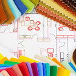 Variants of textiles and materials - Stock Photo