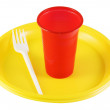 Stock Photo: Plastic plates and glasses