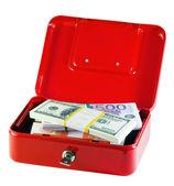 Metal box with bundles of money — Stock Photo