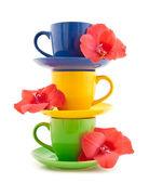 Tazas de té hermosa con flor — Foto de Stock