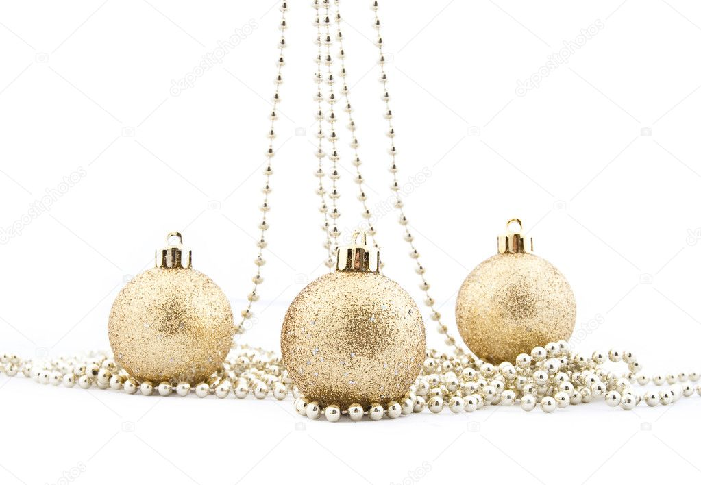 Sets of shining Christmas-tree decorations - Christmas balls — Stock Photo #1317556