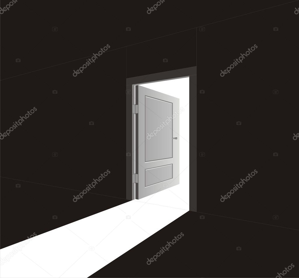 The vector image of an open door and light going through it  Stock Vector #1342621