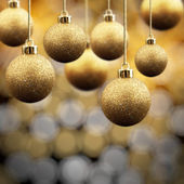 Gold Christmas balls — Photo