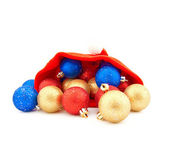 Christmas red cap and balls — Stock Photo