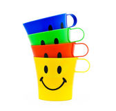 Cups with drawing in a kind of smile — Stock Photo
