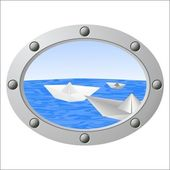 Porthole on the sea and floating pap — Stock Photo
