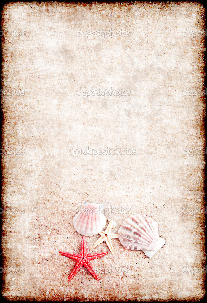 Beautiful background from sand and shells in a grunge style — Stock Photo #2032307