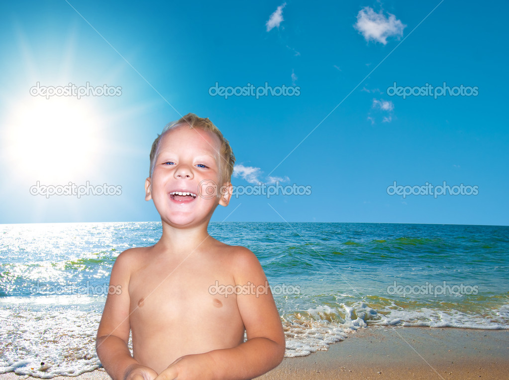 Portrait of the nice child on seacoast  Stock Photo #2154339