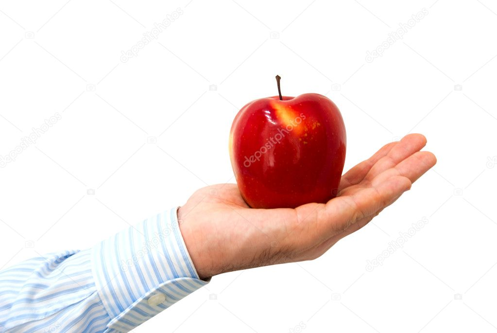 Red apple in a man's hand on a white background — Stock Photo #2385276