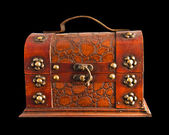 Old brown chest isolated — 图库照片