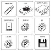 Icon set of data storage media — Stock Vector