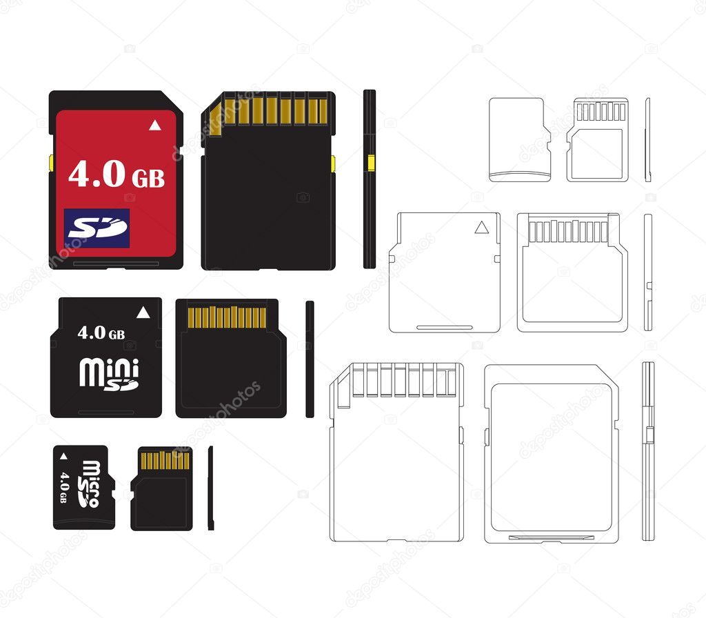 Set of memory cards for technical illustrations — Vettoriali Stock  #1545408