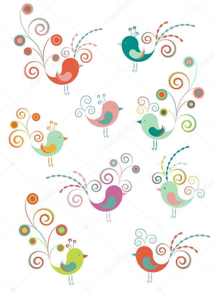 Set of decoration birds  Vettoriali Stock  #1608472