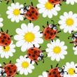 Stock Vector: Seamless pattern with ladybirds