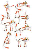 Set of funny cartoon cats — Stock Vector