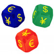 Dices with currency signs - Stock Vector