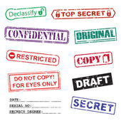 Set of ink stamps for a secret documents — Stockvector