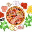 Pizza and set of ingredients — Stock Vector