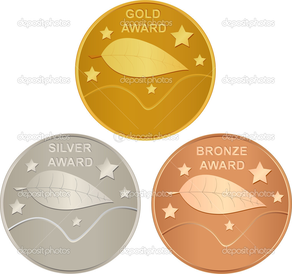 set of gold silver and bronze awards stock vector. Black Bedroom Furniture Sets. Home Design Ideas