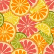 Seamless pattern with lemons and oranges - Stock Vector