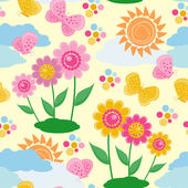 Seamless pattern with a flowers and butt — Stock Vector